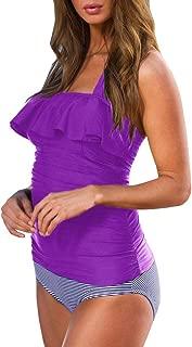 Womens Tankini Swimsuits Ruffle Halter Blouson Top Striped Bottom Bathing Suits Set