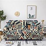 Funda Sofa 4 Plazas Fundas De Sofa Elasticas Antideslizante Fundas para Sofá Ajustables Estampada Cubre Sofa con 2 Funda De Cojín, Gráficos Creativos De Color Beige