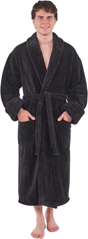 TurkishTowels Luxurious Men's Shawl Collar Fleece Bathrobe