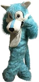 Langteng Blå varg lång hariy tecknad maskot kostym äkta bild 15-20 dagar leverans märke