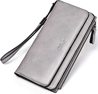 Wallets for Women Soft Oil Wax Leather Ladies Wristlet Clutch Purse Slim Trifold Multi Card Organizer