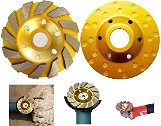 sansheng 4 Inch Concrete Turbo Diamond Grinding Cup Wheel 12 Segs Heavy Duty Angle Grinder Wheels for Angle Grinder(Yellow)