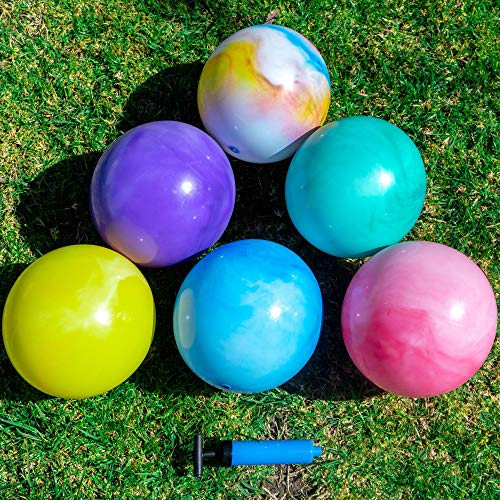 Premium Marbleized Bouncy Balls Plus Pump & 2 Pins, 8.5 Inch Inflatable Sensory Balls, Best...