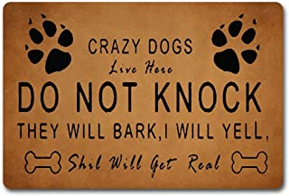 Red Forest Arts The Front Door Mats Crazy Dogs Live Here Doormat Love Dogs Rugs with Dogs Foor Paws Welcome Mats 40X60cm