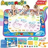 TONBUX Aqua Magic Doodle Mat 60 x 40 Inch Water Drawing Doodling Mat for Toddlers Kids Coloring Mat Educational Toy with Pen Markers for Age 2-5 Years Old Girls Boys Gifts
