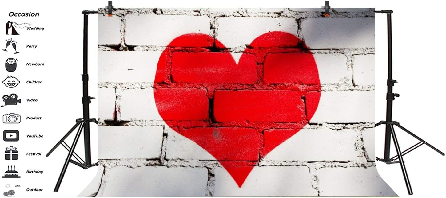 15x10ft White Brick Wall Red Heart Photo Backdrop Girls Newborn Baby Kids Portrait Photography Background Wedding Anniversary Photo Booth Back Drop Studio Props
