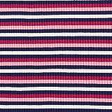 Rippenstrick Viskose Bunte Streifen – rosa/navy —