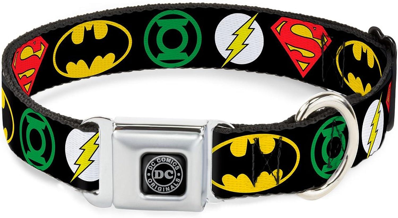 BuckleDown Seatbelt Buckle Dog Collar  Justice League Superhero Logos  1.5  Wide  Fits 1623  Neck  Medium
