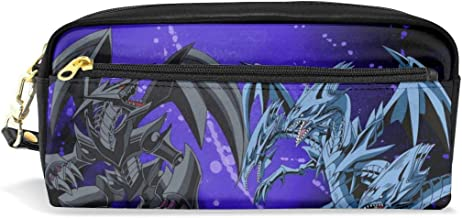 Large Capacity Pencil Pen Case Pouch - Yu-Gi-Oh! Red Eyes Black Dragon Vs Blue Eyes White Dragon Zipper Double Compartment Toiletry Bag Cosmetic Makeup Organizer for School Work Travel