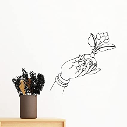 Buy Diythinker Buddhism Religion Buddhist Hand Flower Vase Line Drawing Simple Illustration Pattern Removable Wall Sticker Art Decals Mural Diy Wallpaper For Room Decal 60cm Multi Online At Low Prices In India