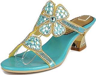 LizFoYa Mujer Flores Tacones Rhinestone Adornado Cristales Gal Vestido Sandalias de tacón