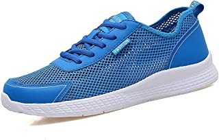 PengCheng Pang Athletic Shoes for Men Thin Breathable Mesh Upper Summer Outdoor Activities Running Sneakers Anti-Slip Flat Lace Up Lightweight (Color : Blue, Size : 5.5 UK)