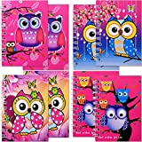 TE-Trend 8 Stück Eule Uhu Kauz Owl Motiv Spiralblock Kinder Mädchen Notizblock Mitgebsel 40 Blatt 75x105mm 4-Fach Sortiert Mehrfarbig