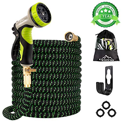 """Gpeng 100ft Expandable Garden Hose with 9 Function Spray Nozzle, Upgraded Leakproof Lightweight Retractable Water Hose with 3/4"""" Solid Brass Fittings, Extra Strength 3750D Durable Flexible Hose Pipe"""