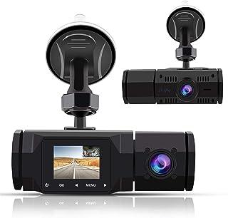 「Accfly2021最新版」ドライブレコーダー 前後カメラ ドラレコ 車内カメラ1080P 車内車外2カメラ  Gセンサー 停車監視 駐車監視 ドライブレコーダー録画中ステッカー&32GBカード付属