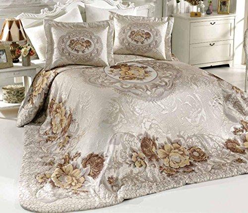 vinaldi Türkisch Polyester Tagesdecke Set (Karen) 260 x 270 cm beige