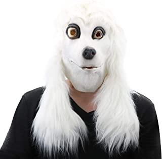 Latex White Poodle Mask Animal Head Mask for Halloween Costume