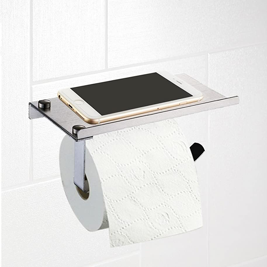 Prorighy Stainless Steel Mobile Stand Featuring Toilet Paper Holder for Bathroom | Stainless Steel Toilet Wall Mount | Mobile Phone Storage