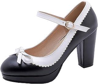 Artfaerie Womens Platform Mary Jane Thick Heel Lolita Pump with Bows Rockabilly Court Shoes