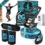 Exposed Gear Slackline Kit with Tree Protectors, High Grade Ratchet + Cover, Set Up Instruction Booklet and Carry Bag | Classic 60 ft Slack Line Set | Perfect Slackline for Kids and Adults