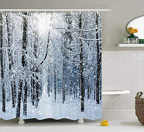 "Snow Fox Shower Curtain 71/"" Polyester Bathroom Curtains Waterproof  Extra Long"
