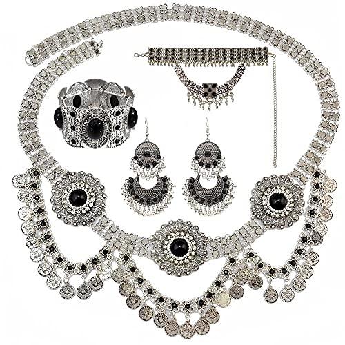 xiangwang Collar indio con borla oxidada para monedas, pendientes, pulseras, collares y cintura, cadenas para el vientre, conjuntos de joyas bohemias turcas (color metálico: juego de 4 negros)