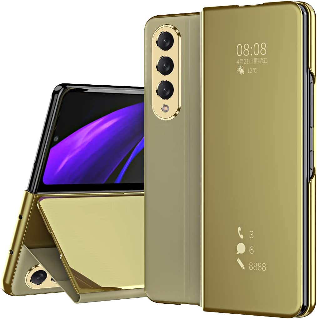DEMCERT for Samsung Galaxy Z Fold 3 Case, Flip Mirror Surface Full Protection Cover PU Leather Hybrid PC Protection Cover for Samsung Galaxy Z Fold 3 5G (Gold)