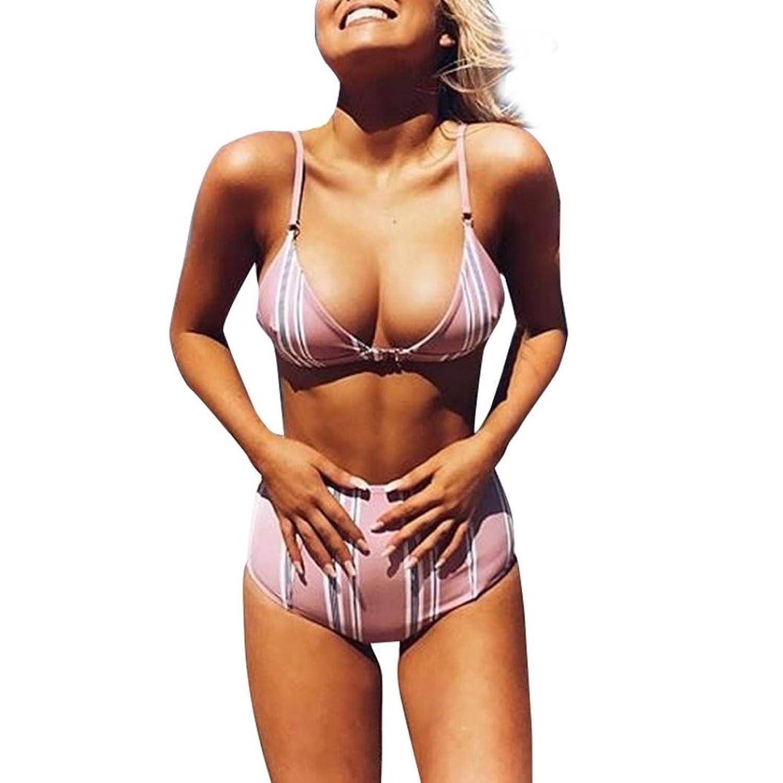 Lucaso 水着 人気 レディース ボーダー プリント キャミソール ハイウェスト ストラップ 肩紐 ショートパンツ シンプル 女の子 ママ水着 可愛い セクシー ベアトップ リゾート 海水浴 ファッション 上下セット