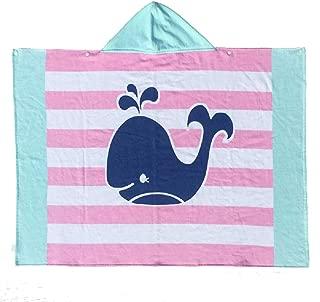 Bavilk Kids Hooded Bath Beach Towel Girls Boys Pool Swim Coverup Cute Cartoon Animal Full Vitality(Striped Whale)
