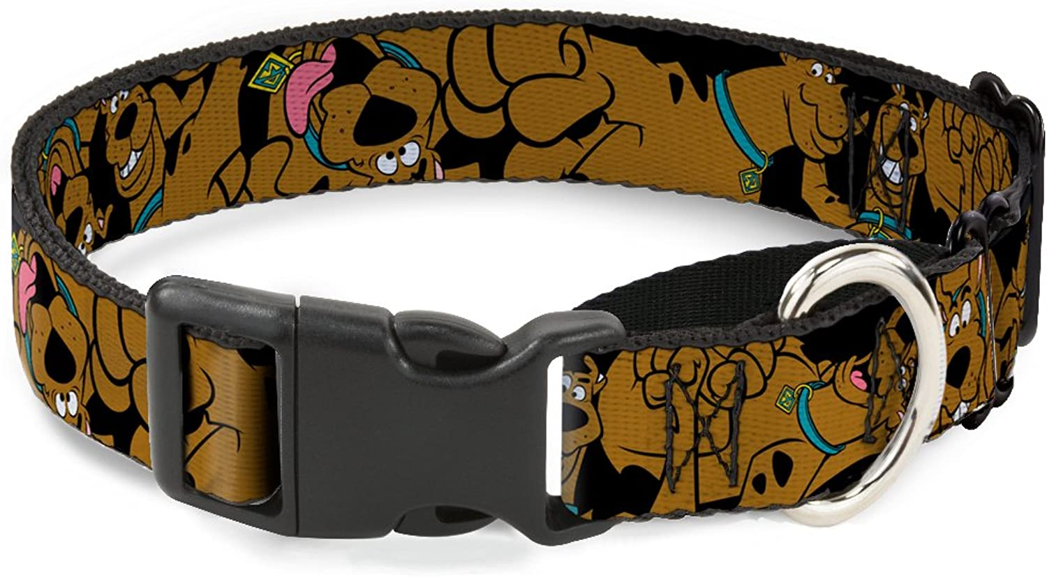 BuckleDown Scooby Doo Stacked Martingale Dog Collar, Black Green, 1.5  WideFits 1832  NeckLarge