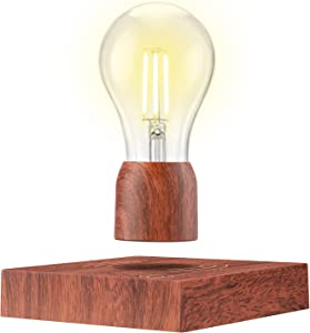 Magnetic Levitating Light Bulb Lamp, RUIXINDA Floating Light Bulb with Touch Control, Floating and Spinning in Air Freely, Desk Gadget Decor in Office Home, Cool Tech Gift for Men/Father/Lovers