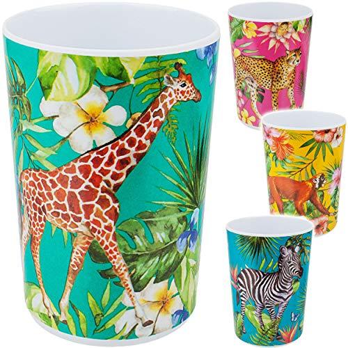 alles-meine.de GmbH 4 Stück _ Trinkbecher / Becher - Dschungel Safari & Zoo Tiere - 400 ml - BPA frei - auch als Zahnputzbecher / Malbecher / Eisbecher / Joghurtbecher - Trinkgla..