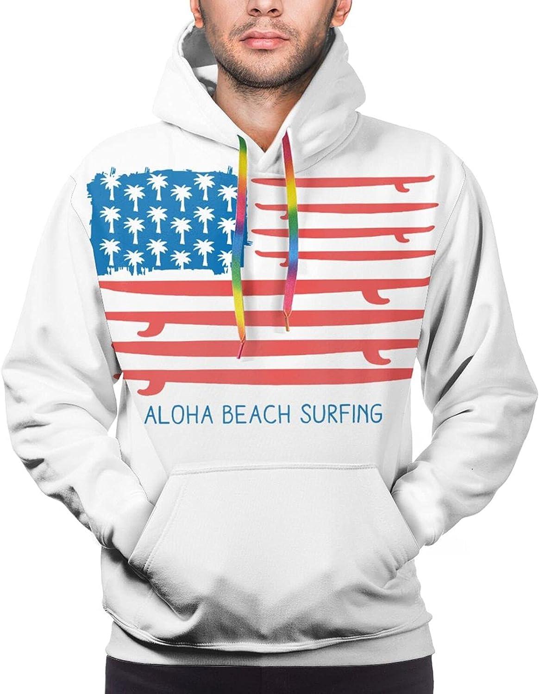 Hoodie For Teens Boys Girls American Flag Surfboard Beach Surfing Hoodies Fashion Sweatshirt Drawstring