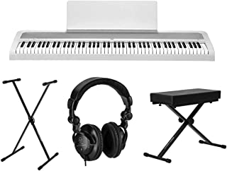 $604 » Korg B2 88-Key Digital Piano, White - Bundle With H&A Closed-Back Studio Monitor Headphones, Ultimate JamStands JS-XS300 X...