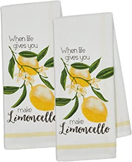 Design Imports Lemon Bliss Table Linens, 18-Inch by 28-Inch Dishtowels, Set of 2, Make Limoncello Printed