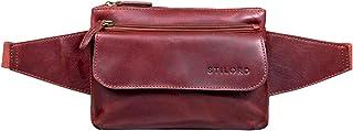 """STILORD Atlanta"""" Gürteltasche Leder Rot Vintage Bauchtasche für Männer Frauen Hüfttasche zum Umhängen als Brusttasche Cross-Body Bag Echtleder"""