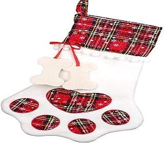 N / A Christmas Decorations Christmas Sock Gift Bag Dog paw (Red)