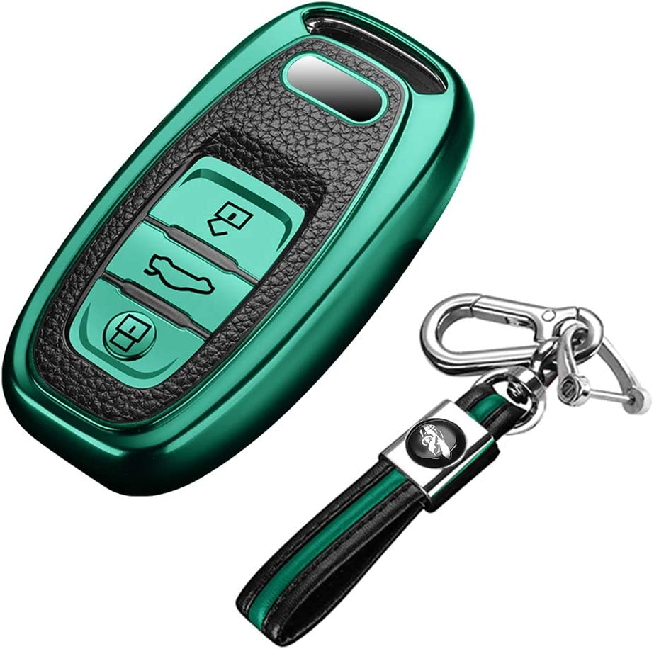 Blue Audi Key Fob Cover Case with Key Chains for Women and Men Premium Soft TPU Full Protection Key Shall Case fit for Audi A4L A6L Q5 A5 A7 A8 S5 S7 Keyless Entry