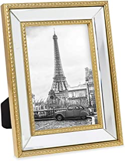 Isaac Jacobs 5x7 Gold Mirror Bead Picture Frame - Classic Mirrored Frame with Dotted Border Made for Wall Display, Tabletop, Photo Gallery and Wall Art (5x7, Gold)