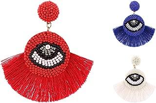 OMEYA Tassel Earrings for Women Girl Eye Beaded Bohemian Boho Handmade Dangle Drop Earrings Valentine Birthday Christmas Gifts