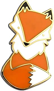 Mikspress Cute Fox Hard Enamel Pin, Kawaii Orange Fox Lapel Pin for Backpacks or Jackets, Fashion Accessories