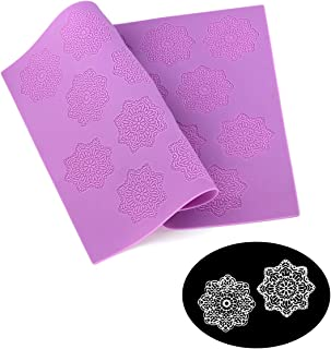 HiParty Snowflake Flower Pattern Silicone Lace Mat Sugar Craft Impression Mold Edible Cake Decorating Wedding Decoration Floral Imprint Border Brim Decor Fondant Decorative Embossing Baking Tools