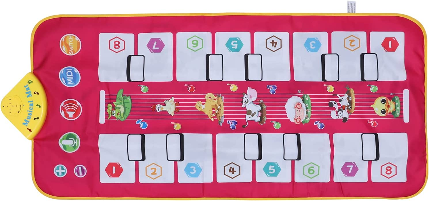 Toyvian Kids Musical Max 89% OFF Mat Double Piano Carpet Ped Super sale Animal Keyboard