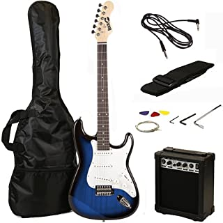 RockJam 6 String Full Size Electric Guitar Super Kit Blue Burst (RJEG02-SK-BB)