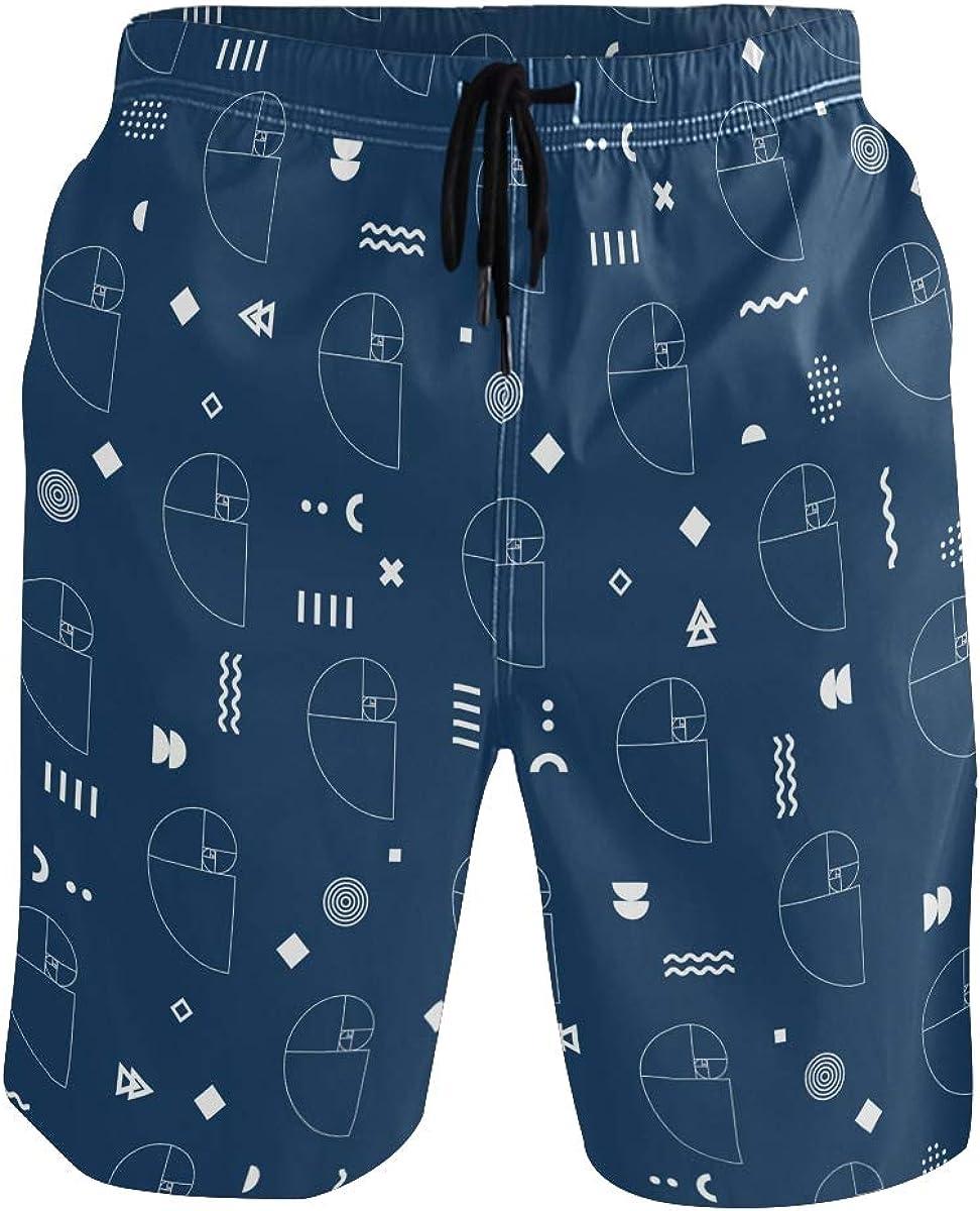 Swim Trunks Golden Ratio Spiral, Beach Short Beachwear for Men Boys S