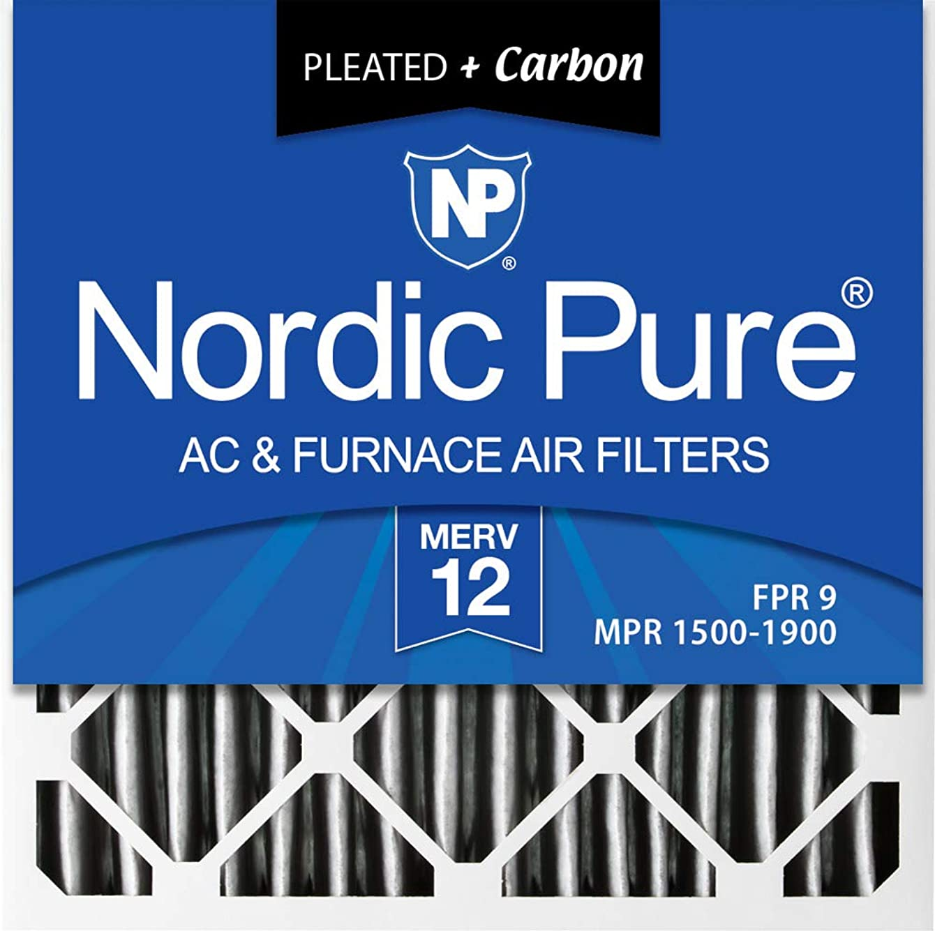 Nordic Pure 24x24x1 MERV 12 Pleated Plus Carbon AC Furnace Air Filters, 24x24x1PM12C, 6 Piece