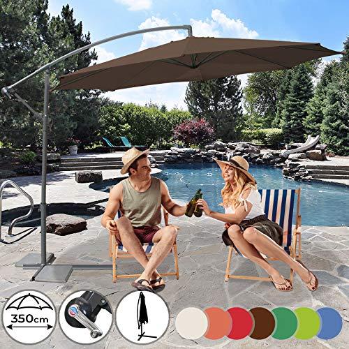 Sonnenschirm Ø 350cm in Farbwahl | mit Handkurbel zum Aufspannen,Wasserabweisender Schirmbezug, inkl. Ständer | Ampelschirm, Gartenschirm, Marktschirm, Sonnenschutz für Balkon, Garten, Tarasse (Braun)