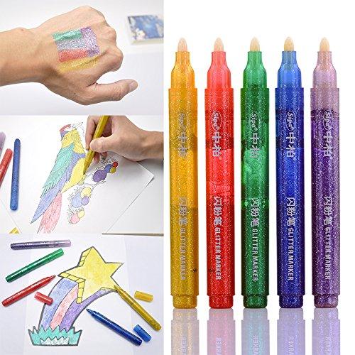 Sipa 5pcs Couleur Paillettes marqueur fluorescent Pen pour DIY Scrawl enfant carte en peinture, corps, Illustration Motif, n'importe quel Craft Dessin