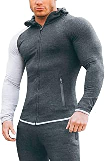 Men's Soft Stretch Hooded Sweatshirts Long Sleeve Color Block Full Zip Hoodies with Zipped Pockets by URIBAKE