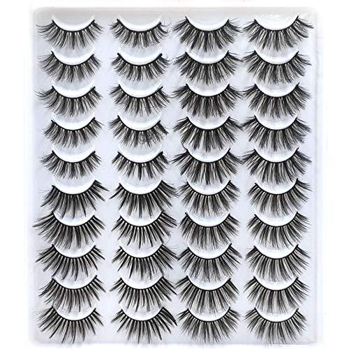 Mix Style 20 Pairs False Eyelashes Fake Eyelashes Long, Thick, Curly, Dramatic, Natural Volume Eyelash Extensions 3D Makeup Kit (03)